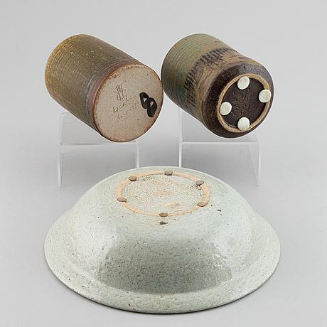 Lisa larson, three stoneware pieces, gustavsberg studio.