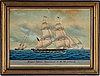 A ship portrait, gouache/watercolour, 19th century.