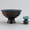 Liisa hallamaa, a footed bowl and a small oblect, stoneware, signed lh arabia.