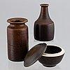 Erich & ingrid triller, a glazed stoneware lidded bowl and two vases, tobo.