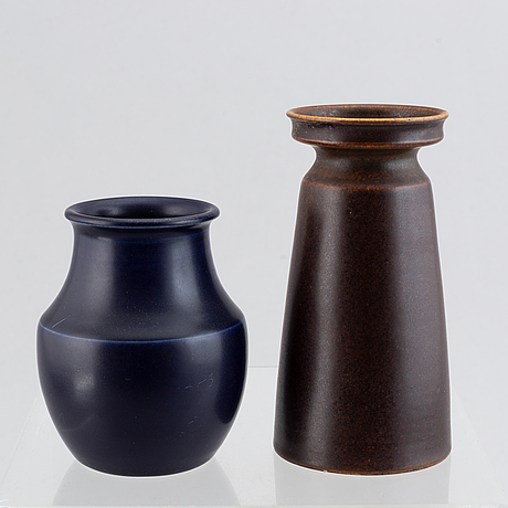Erich & ingrid triller, two glazed stoneware vases, tobo.