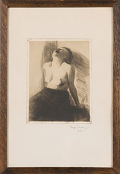 Hugo Simberg, line etching, signed on plate and signed and dated 1909 in pencil.