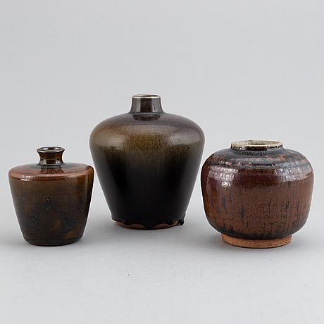 Rolf palm, three 1960s glazed stoneware vases, signed palm, mölle.