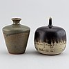 Rolf palm, two glazed stoneware vases, signed palm, mölle.
