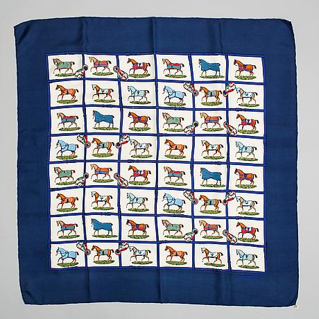 Hermès, a 'petits chevaux' silk scarf.
