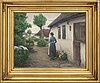 Hans andersen brendekilde,  oil on canvas. signed. 'young woman getting water'.