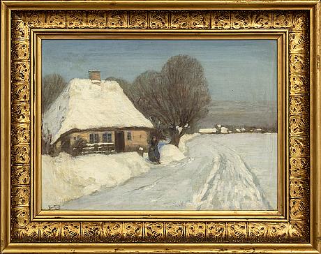 Hans andersen brendekilde, oil on canvas, signed with monogram.