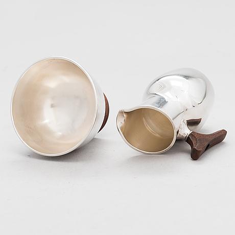 Tapio wirkkala, a cream jug and a sugar bowl in silver (916), kultakeskus, hämeenlinna 1963.