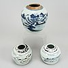 Two blue and white porcelain jars, qing dynasty, 19th century.