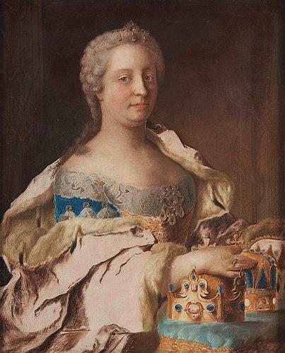 """Jean étienne liotard follower of, """"archduchess of austria, holy roman empress maria teresa of austria"""" (1717-1780)."""