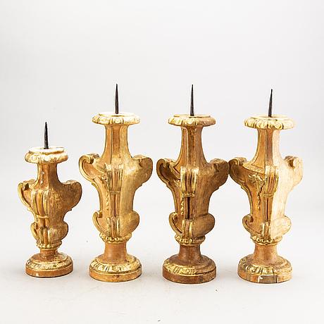 Ljusstakar, 4 st, barockstil, paoletti, florens italien, 1900-talets andra hälft.