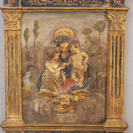 Väggrelief barockstil italien 1900-talets mitt.