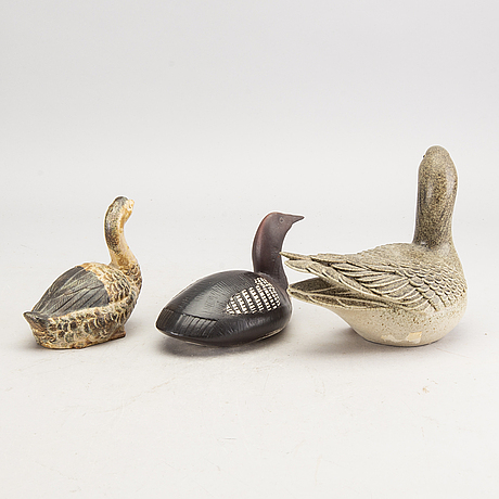 Figuriner 3 st bla paul hoff glaserad keramik.