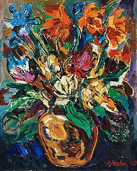 666. Albin Amelin, Still life with flowers.