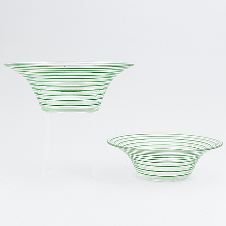 Jacob e bang, a 14 piece glass service, broksø, holmegaard, denmark, first half of the 20th century.