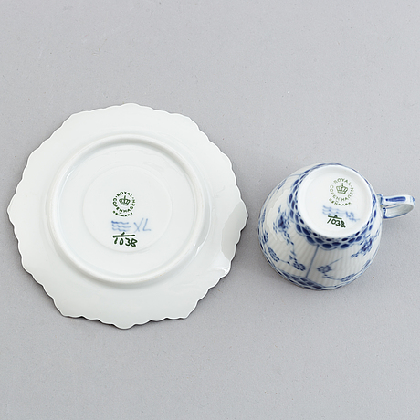 Royal copenhagen, a 'musselmalet' part mocca service, denmark (18 pieces).