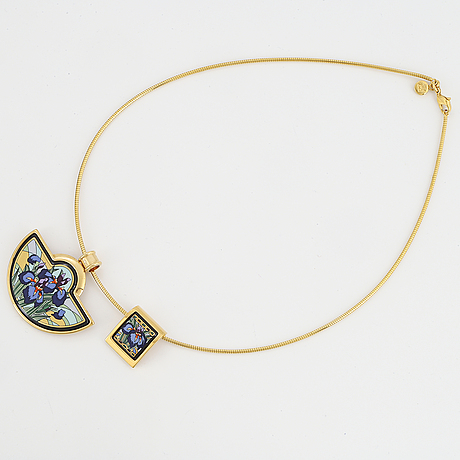 Frey wille, necklace with two pendants, gilt metal and enamel, austria.