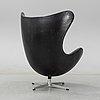 """Arne jacobsen, a easy chair """"egg chair"""" designed for fritz hansen, denmark."""