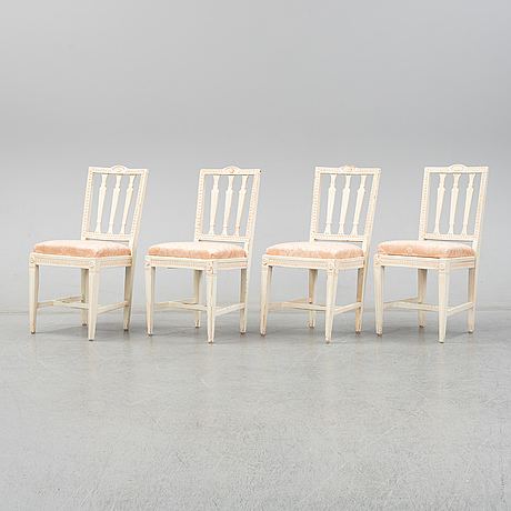 Four gustavian chairs by johannes ericson (1803-1865).