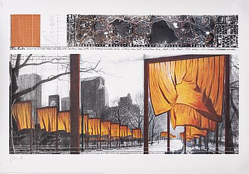 Christo & Jeanne-Claude, a signed offset print in colours.