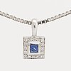 Sapphire pendant and chain 18k whitegold length approx 50 cm, pendant approx width 6 mm.