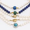 5 necklaces, cultured freshwater pearls approx 7,5-8,5 mm, lapis lazuli beads, 1 clasp 18k gold, 4 silver and metal.
