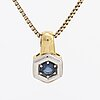 Pendant and ring, 18k gold with 2 sapphires and brilliant-cut diamonds 0,045 ct inscribed, chain gilded silver.