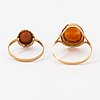 A set of 14k gold rings, earrings and pendant with sea shell cameos. finnish hallmarks.