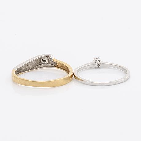 2 rings and 1 pendant 18k gold, brilliant-cut diamonds and 1 aquamarine ca 7 mm, chain metal.