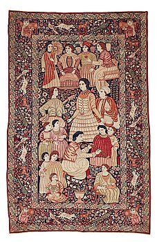309. Matto, antique Kerman Laver figural, ca 238-242 x 153-157 cm (as well as one end with 1 cm flat weave).