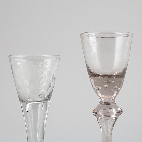 Two glasses, 1700's.