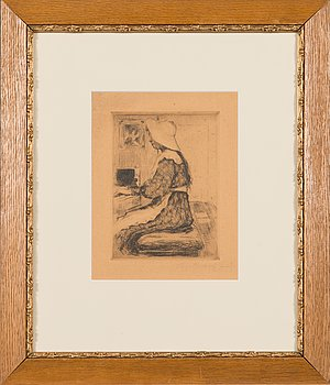 Hugo Simberg, line etching and drypoint, signed on plate and signed fecit in pencil.