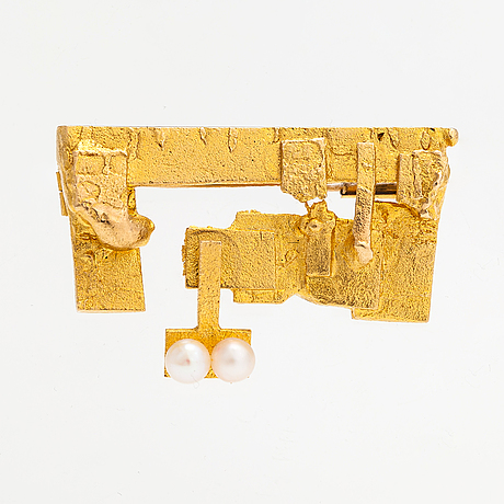 "Björn weckström, a 14k gold brooch ""rimefrost"" with cultured pearls. lapponia 1967."