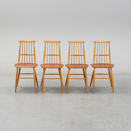 Four teak and birch chairs. 1950/60's.