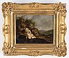 Unknown artist, an 18th century landscape painting, oil on panel, england,