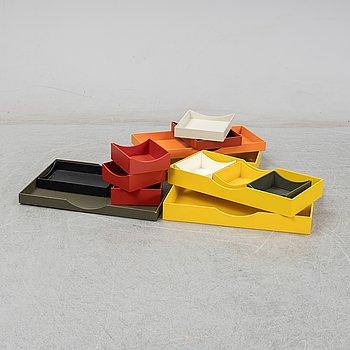 Børge Mogensen, a set of 14 different colour drawers for the Öresund-series, Karl Andersson & Söner, 1960's.