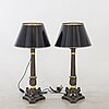 A pair of lae empire table lamps around 1850.