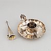 A silver chamber candlestick with funnel snuffer, robinson, edkins & aston, birmingham 1839.