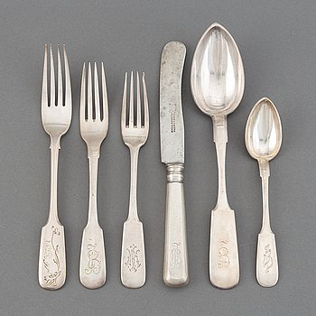 36 pieces silver cutlery, including Moscow 1894-95.