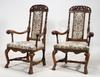 Karmstolar, ett par, delvis barock, 1700-talets första hälft.