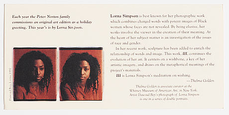 Lorna simpson, multiple, 1994, peter norton family christmas project 1994.