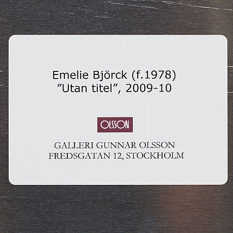 Emelie björk, oil on aluminum, signed and dated 2009-10 on verso.