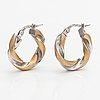 A pair of 14k white and yellow gold earrings. unoaerre, italy.