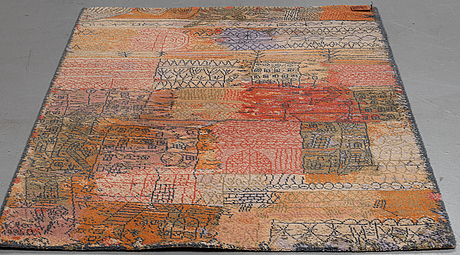 """A paul klee rug, florentinisches villenviertel"""". machine made pile. 202 x 141 cm. after a work of art by paul klee from."""