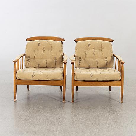 """Kerstin hörlin-holmquist, fåtöljer ett par, """"skrindan"""", ope möbler."""