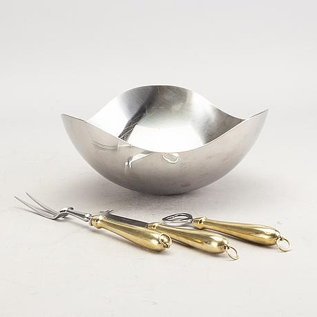 Georg jensen skål samt ostkniv, öppnare och gaffel danmark 2000-tal.