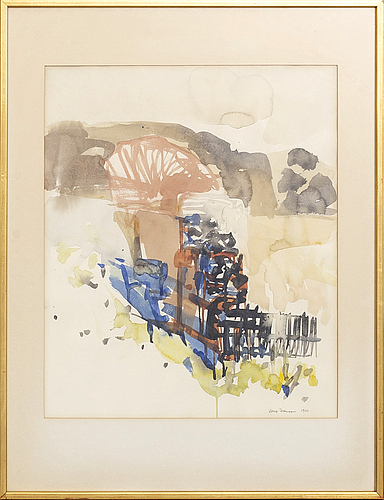 Arne isacsson, watercolour signed and dated 1970.