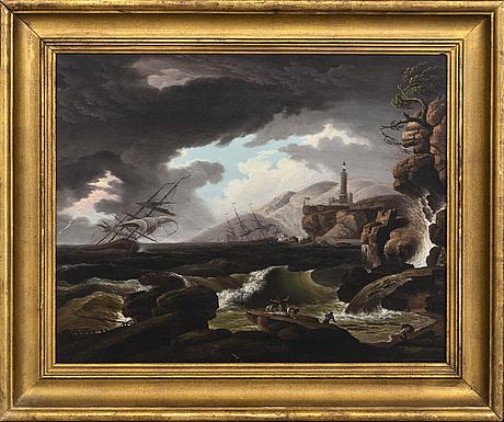 Claude joseph vernet, hans efterföljd, olja på plåt.