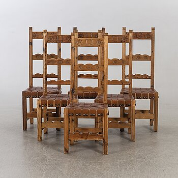 A set of six chairs possibly  Ingvar Stockum for Artie Möbler AB, Lammhult Sweden, 1960/70:s.