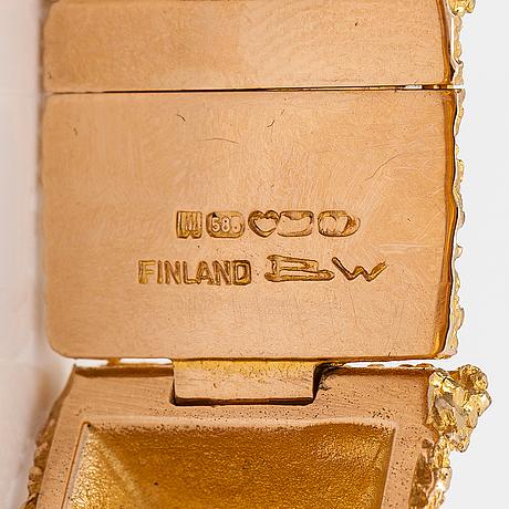 """Björn weckström, rannekoru """"pyramidi"""", 14k kultaa. lapponia 1970."""
